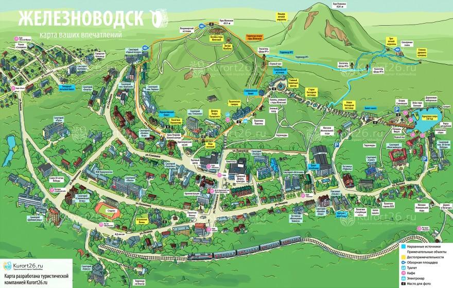 Карта достопримечательностей Железноводска